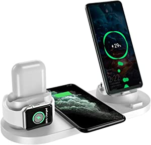 TZONOO 6 in 1 Wireless Charging Stand for Apple Watch 5 and iPhone Airpods, Wireless Charging Station Compatible for iPhone 11/11 Pro/X/XR/Xs/8 Plus Apple Watch Charger 5 4 3 2 1 (White)