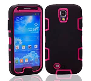 Interbusiness Hard Soft High Impact Armor 3in1 Case for Samsung Galaxy S4 IV i9500 (Black Pink)