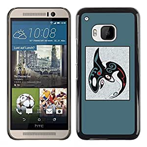 Plastic Shell Protective Case Cover || HTC One M9 || Pattern Blue Whale Orca @XPTECH