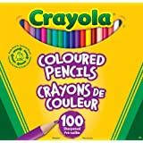 Crayola Coloured Pencils, 100 Count Pencil Crayons, Vibrant colours, Pre-sharpened, Art Tools, Adult Colouring, Bullet Journaling, School and Craft Supplies, Drawing Gift for Boys and Girls, Kids, Teens Ages 5, 6,7, 8 and Up, Holiday Gifting, Stocking , Arts and Crafts,  Stuff
