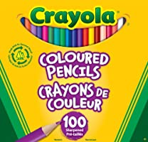 Crayola Crayola Coloured Pencils, 100 Count, Vibrant colours, Pre-sharpened, Art Tools, Great for Adult colouring,  Stuffers, Gift for Boys and Girls, Kids, Ages 3+, Summer Travel, Out of School Cottage Activties
