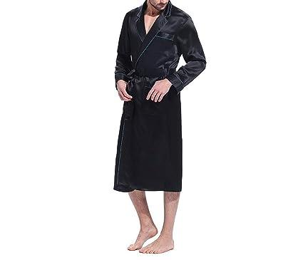 425497891e Robe Bathrobe Sleepwear Kimono Male Silk Men Night Designer Long Sleeve  Belt Pockets Brand Turn Down
