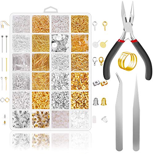 (Jewelry Making Supplies - 1590Pcs Jewelry Findings Kit for Adults Earrings DIY Making, Ear Backs Earring Hooks for Earrings Jewelry DIY Repair)