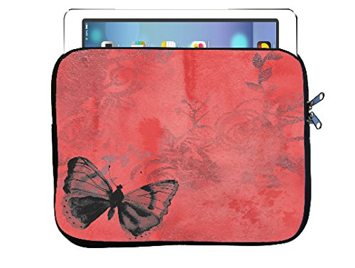 Butterfly Red Vintage 8.5x11 inch Neoprene Zippered Tablet Sleeve Bag by Moonlight Printing for iPad, Kindle, Tab, Note, Air, Mini, Fire ()
