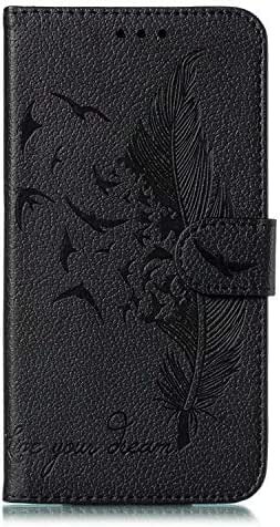 Samsung Galaxy Note 10 Case, Shockproof Premium Soft PU Leather Flip Notebook Wallet Case Embossed Feather Birds with Magnetic Stand Card Holder Slot Folio TPU Bumper Protective Skin Cover Black
