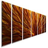 "Statements2000 Abstract Autumn Painted Earthtones Large 3D Metal Wall Art Panels Hanging Sculpture by Jon Allen, Gold/Amber, 68"" x 24"" - Fall Plumage"