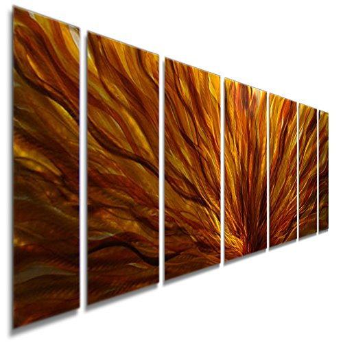 Modern Abstract Red, Yellow, Orange Metal Wall Painting - Contemporary Hand-painted Home Decor Sculpture Art - Fall Plumage By Jon - Metal Chestnut Wall