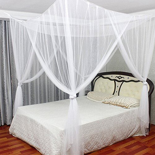 Jeteven Polyester Four Corner Post Bed Canopy Mosquito Net Netting Bedding for Full/Queen/King Bed, 74.8x82.7x94.5 Inches, White