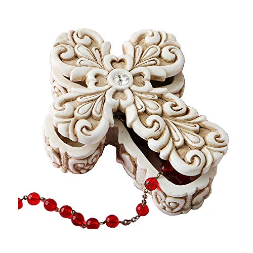 GiftsByFashiocraft Baroque Design Vintage Cross Themed 2-Piece Rosary Box - 4
