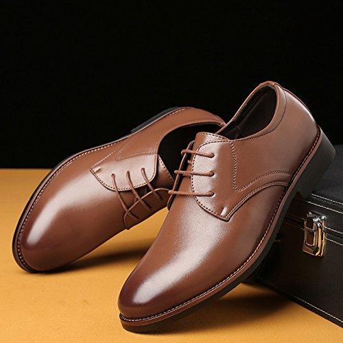 Formales Marrón Pu Cuero Mate Jialun Simples Oxfords Forrados Hombres Cordones Con Clásico De zapatos Negocios Transpirables Para Zapatos BInIfq8T