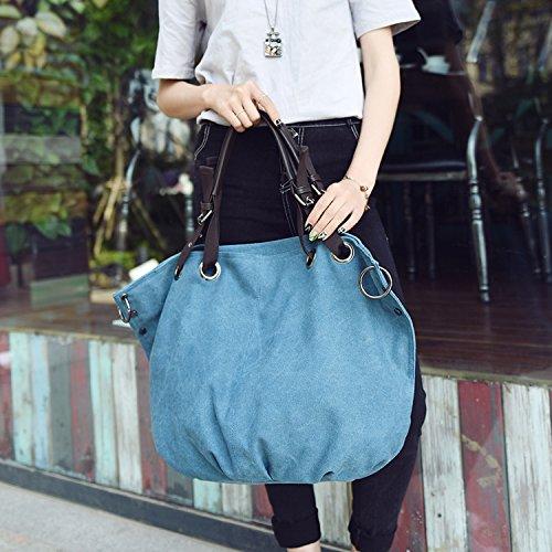 MeCooler Bolso Bandolera Mujer Vintage Bolsa Moda Clutch Bolsos Grandes Bolsos de Tela Carteras Bolsos Originales Bolsos de Mano Azul
