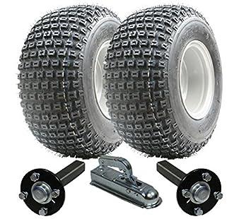 juego de remolque ATV - Quad remolque - Wanda ruedas + Steel Pulse concentrador / ramal + Alko 18x9.50-8 enganche de 200kg: Amazon.es: Coche y moto
