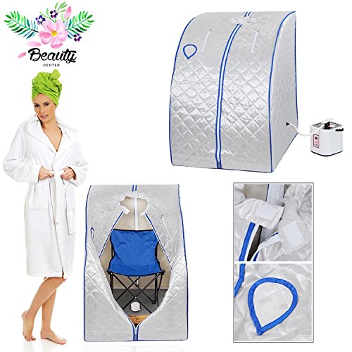2l Portable Steam Sauna Tent SPA Detox Weight Loss w/ Chair Silver