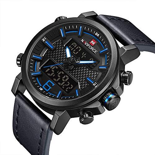 NAVIFORCE Men Sport Leather Watches Waterproof Dual Display Digital Chronograph Military Blue Wrist Watch