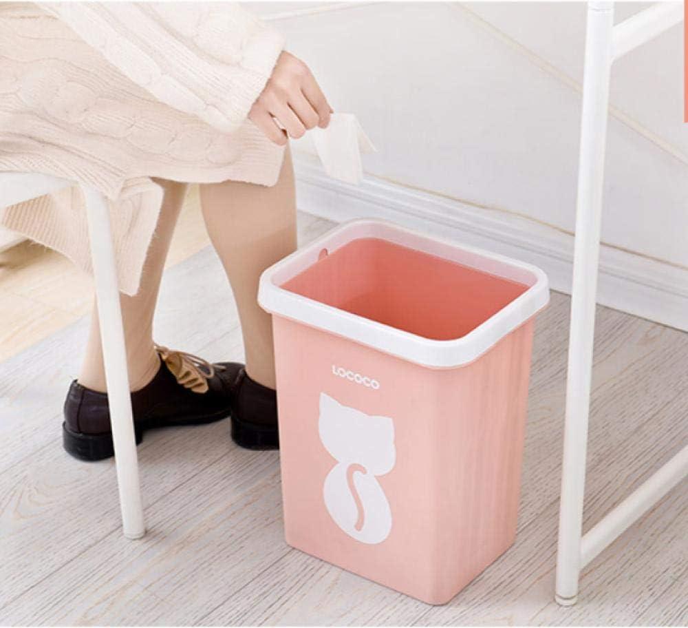 BATHROOM Accesorios de baño Cocina Bote de basura descubierto Hogar creativo Lindo gato Anillo de presión de papel Papel nórdico Viento Grueso Bote de basura de plástico 28.5 * 22Cm