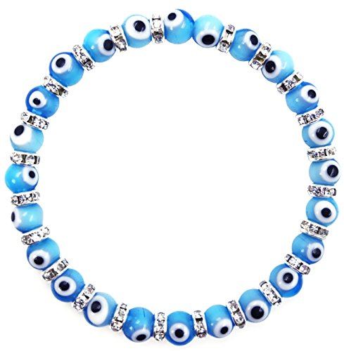 Swarovski Evil Eye Protection - 2282 Turkish Evil Eye Murano Glass Bead Stretch Bracelet with Crystal Spacers for Protection and Good Luck