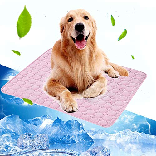 (Volwco Pet Dog Self Cooling Mat Pad, 24''x20''Ice Silk Mat Pet Cooling Non Sticking Blanket Keep Pets Summer Cool Comfort for Cats and Dogs Home and Travel, Car Seats, Crates and Beds, Pink)