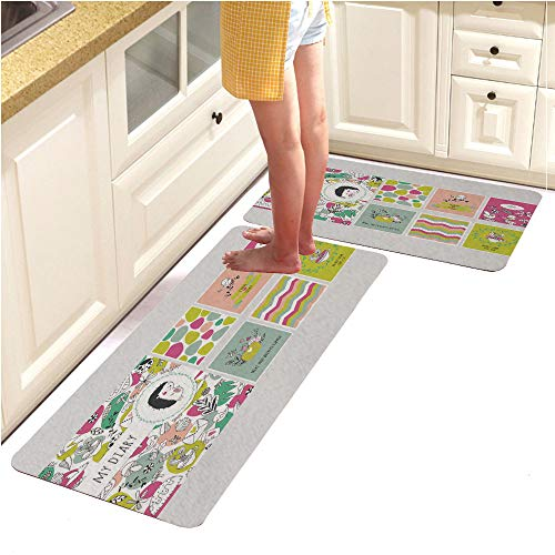 Pebbles Alphabet Page (Rugs Runner Rug -Non Skid Carpet Entry Rugs Runners for Kitchen and Entryway,Cute Diary Cover and Page Template (15