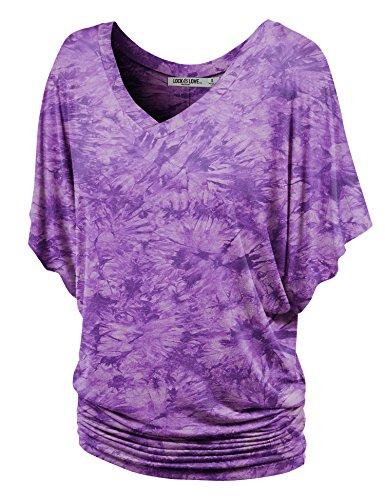 WT1116 Womens V Neck Short Sleeve Tie Dye Drape Dolman Top M - Drapes Jersey Purple