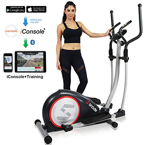 SNODE Magnetic Elliptical Trainer Exercise Machine with Bluetooth App Tracking Option Heavy Duty Cross Crank Driven and Programmable Monitor for Home Fitness Cardio Training Workout