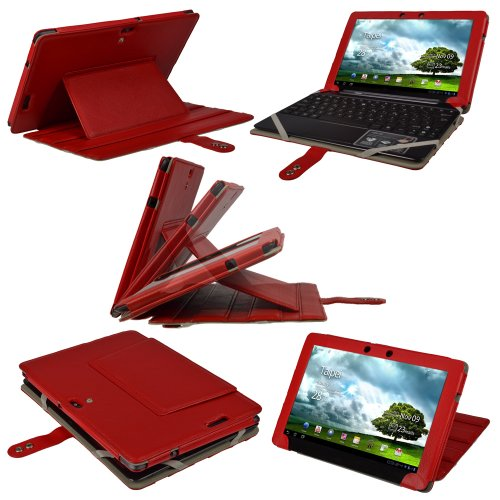 iGadgitz Red Leather Case Cover for Asus Eee Pad Transfor...