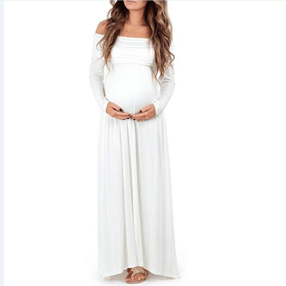 Flank Women Cowl Neck Pregnants Sexy Photography Props Off Shoulders Nursing Dress (White, XL)