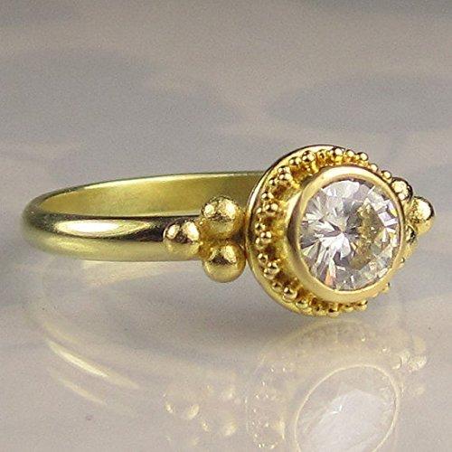ae3d11436f1cb Amazon.com: 22k Gold Granulated Moissanite Engagement Ring: Handmade