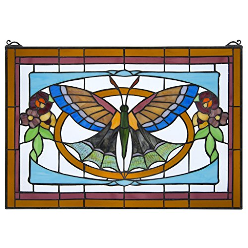 Stained Glass Panel - Butterfly Ballet Stained Glass Window Hangings - Window (Purple Butterfly Stained Glass)