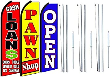 WE BUY GOLD Pawn Swooper Banner Feather Flutter Bow Tall Curved Top Flag