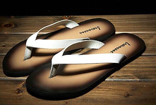 Happyshop (tm) Hommes En Cuir De Vache Flip Flops Sandales De Plage Dété Casual Pantoufles Chaussures Blanc (style A)