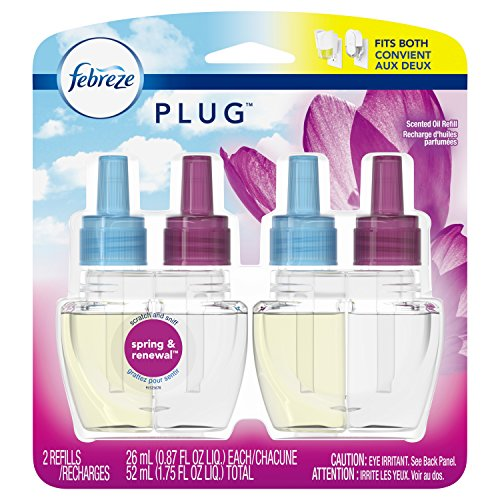 Febreze Plug In Air Freshener Scented Oil Refill, Spring & Renewal, 2 Count (Packaging May Vary)