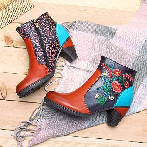 Bottines en Cuir Boots Talon Moyen Carr/és Chaussures de Ville Hiver Socofy Bottes Femme Rouge Design Original /à Style Ethnique
