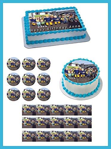 Amazoncom Fireman Sam 2 Edible Birthday Cake Or Cupcake Toppe 2