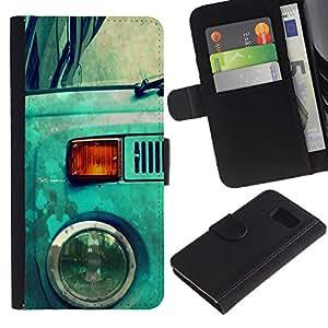 // PHONE CASE GIFT // Moda Estuche Funda de Cuero Billetera Tarjeta de crédito dinero bolsa Cubierta de proteccion Caso Samsung Galaxy S6 / Blue Hippy Van /
