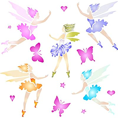Fairies Stencil - Reusable Wall Stencils for Painting - Best Quality Fairy Wall Stencils - Use on Walls, Floors, Fabrics, Glass, Wood, Terracotta, and More...