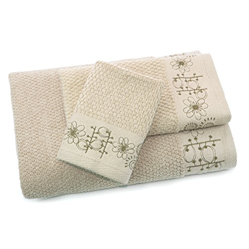 ADI Sprouting Embroidered 3-Piece Bath Towel Set, Linen