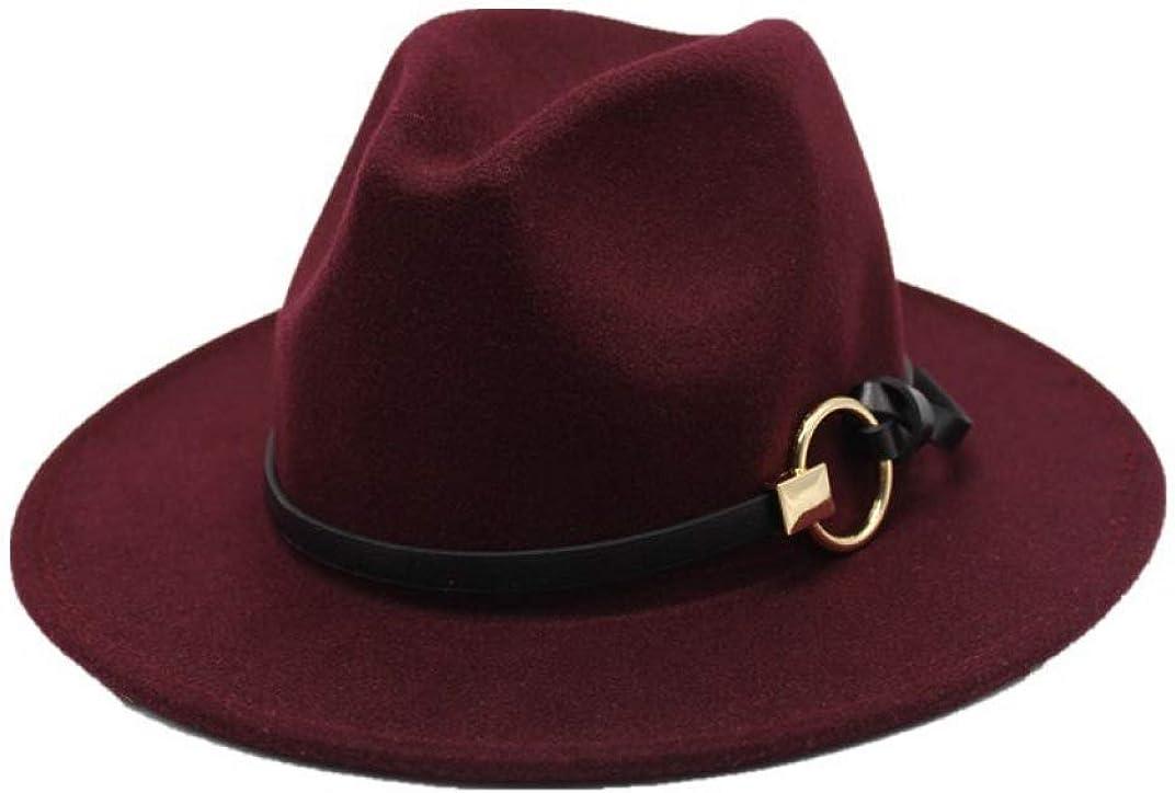 SANOMY Unisex Elegant Fedora Hat Outback Gold Circle Floppy Cloche Trilby Cap Wide Brim Jazz Caps