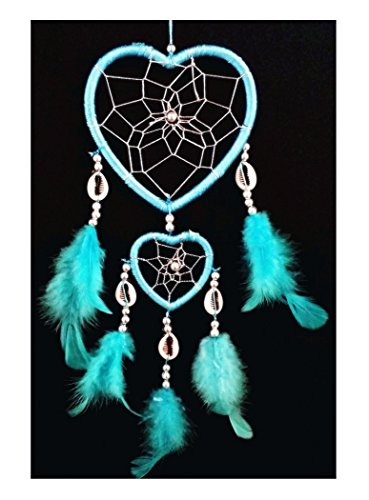 Handmade Heart-shaped Dream Catcher (With a Betterdecor Gift Bag) (Light Blue)