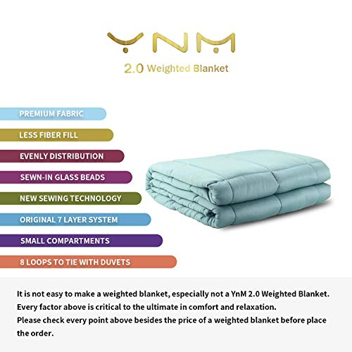 "YnM Cooling Weighted Blanket, 100% Natural Bamboo Viscose, 15 lbs 60""x 80"
