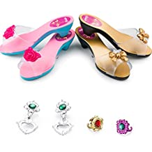 JaxoJoy Shoes and Jewelry Boutique – Little Girl Princess Play Gift Set with 2 Pairs of Shoes, 2 Rings & 2 Pairs of Earrings – Great for Dress Up & Group Play – Recommended Ages 3+