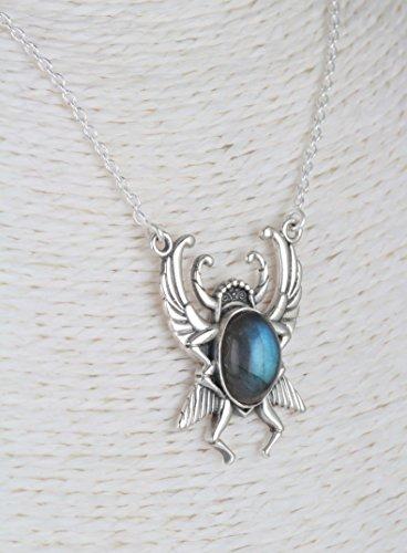 Aden's Jewels-Collier-Labradorite-Argent-Scarabée ailé-Femme-Homme-Bleu-Longueur 43cm