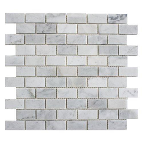 Carrara White Marble Mosaic Tile, CWMM0102, Chip Size 1''X2'' Brick, 12''X12''X5/16, Polished (Box of 5 Sheets) by CWM