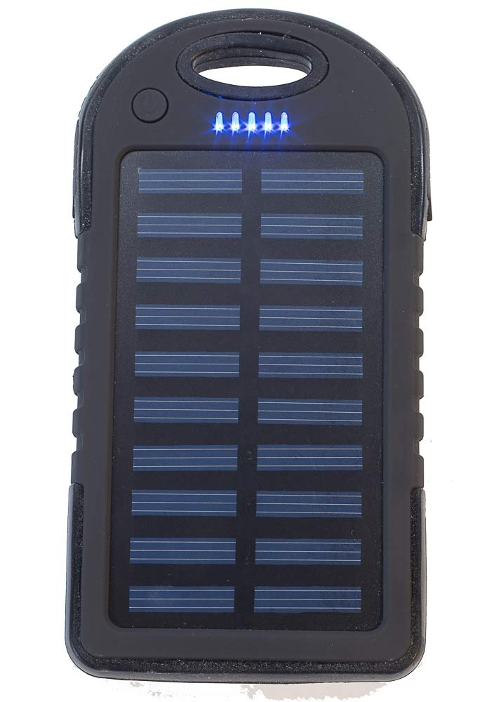 5,000 mAh Portable Solar Power Bank Charger, Battery Pack, 2 USB Port +Flash Light +Charger Cable Water Resistant, Led Indicator External Battery Backup, 4 All Cell Phones, Smart Phone Tablet, Laptop by Tundras