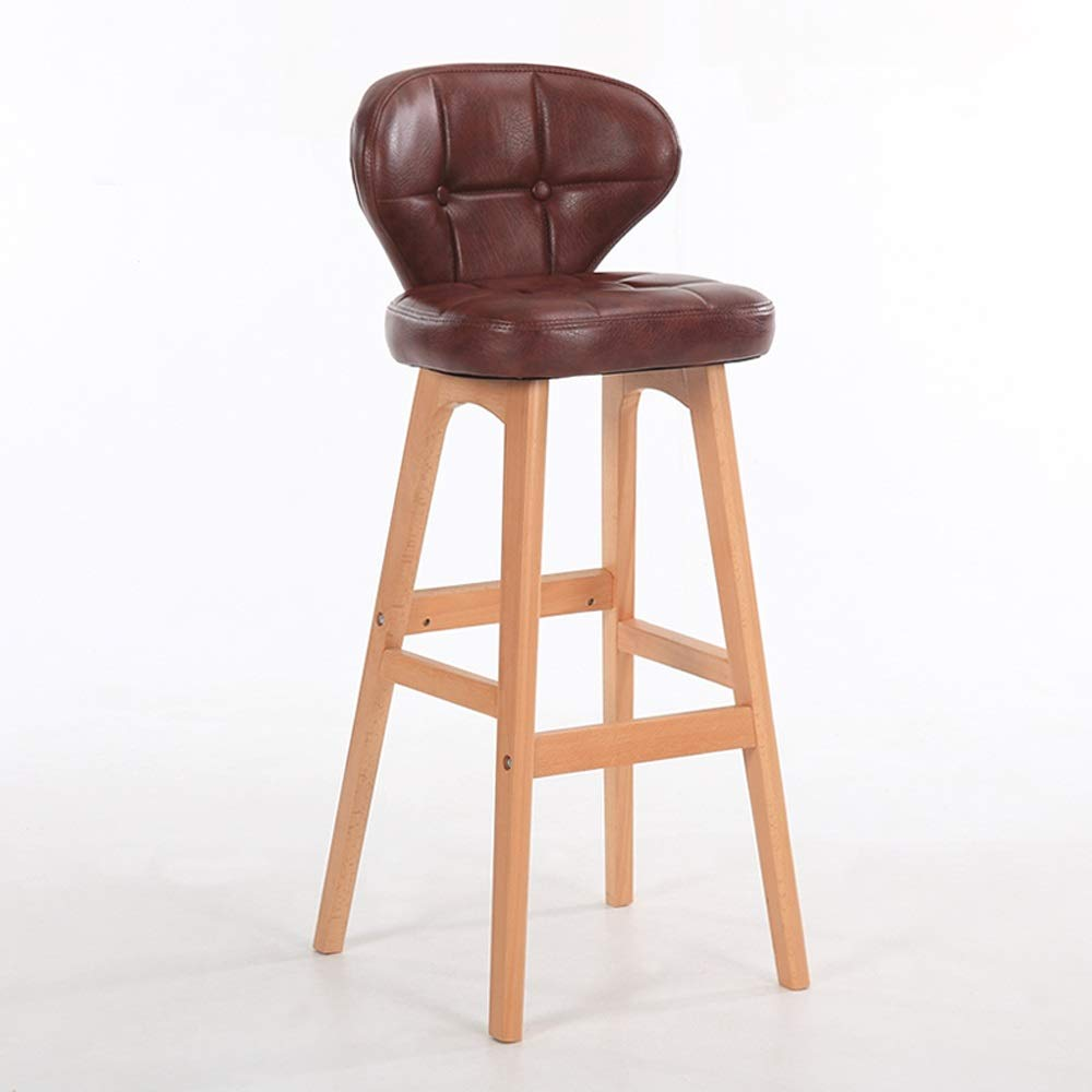 Brown PU Leather high Stool Wood Art backrest bar Chair Industry bar Stool Suitable for Coffee Shop Living Room Club 78cm SUGEWANJBD (color   Brown)