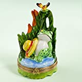 Authentic French Hand Painted Limoges Porcelain Frog Resting with Hat and Butterfly Box