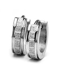 Sirius Jewelry Mens Earrings Silver Color Rectangle Stainless Steel Huggie Hoop
