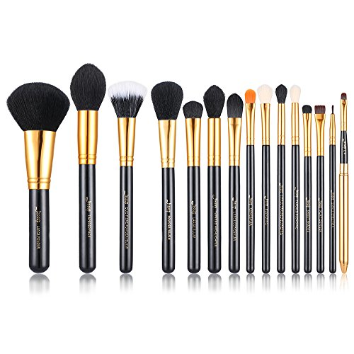 Jessup 15 Pcs Black/Gold Pro Makeup Brushes Makeup Brush Set