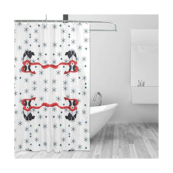 JDHWSC Border Collie Christmas (1) Polyester Shower Curtain 60 X 72 Inch Fabric Waterproof Mildew Shower Curtain with Full Iron Material Hook+Stainless Steel Hole Bathroom Decoration 2