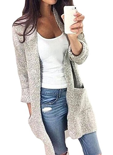 Sweater Comfy Hooded (FARYSAYS Women's Heathered Long Sleeve Open Front Hooded Long Knitted Cardigan Sweaters Outerwear with Pocket Grey Small)