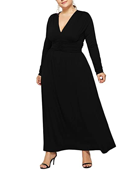 50eb8905c5b Salimdy Women's Plus Size Solid V-Neck Long Sleeve Casual Evening Party  Maxi Dress